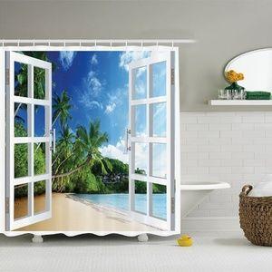 Shower Curtain Tropical Beach Window View Print